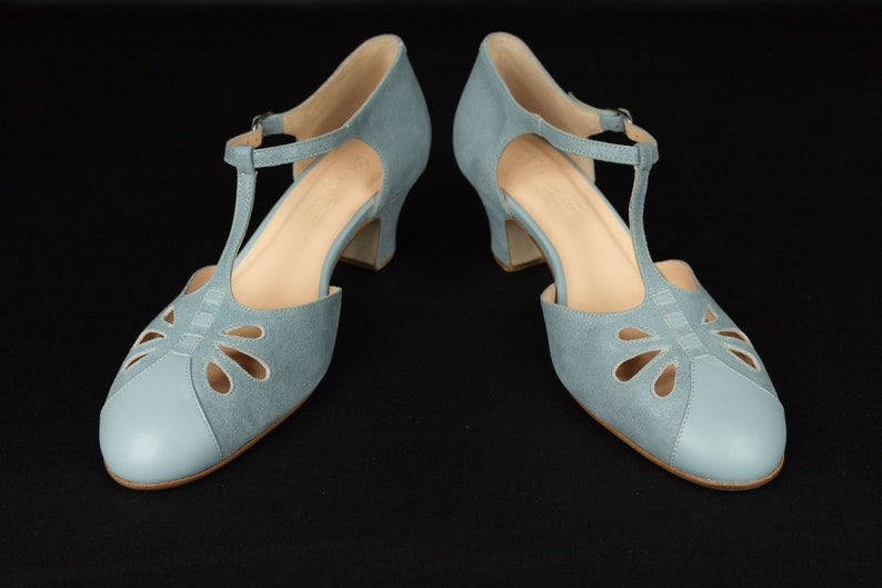 1940s Style Wedding Dresses | Classic Wedding Dresses T-strap Heels Womens Leather Sandals Vintage Swing Shoes Mary Janes - Blue Sky $183.16 AT vintagedancer.com