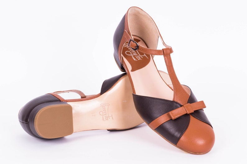 Retro Vintage Flats and Low Heel Shoes T-strap Flat Shoes Womens Leather Sandals Vintage Swing Mary Janes - Toffee Brown $177.00 AT vintagedancer.com