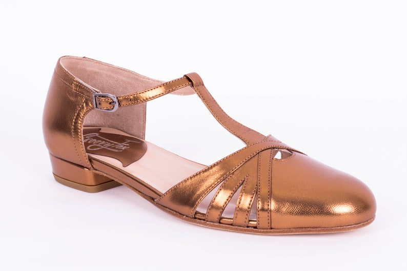 Retro Vintage Flats and Low Heel Shoes T-strap Flat Shoes Womens Leather Sandals Vintage Swing Mary Janes - Thracian Gold $174.45 AT vintagedancer.com