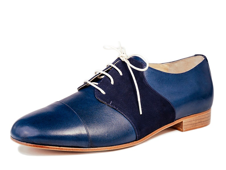 1950s Men's Shoes | Boots, Greaser, Rockabilly Derby mens shoes Leather shoes Oxfords lace shoes Vintage swing shoes - Deep Blue $174.45 AT vintagedancer.com
