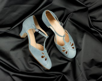 T-strap Heels, Women's Leather Sandals, Vintage Swing Shoes, Mary Janes - Blue Sky