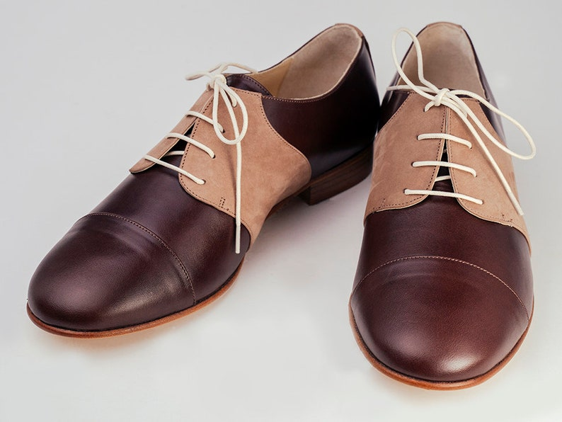 1950s Men's Shoes | Boots, Greaser, Rockabilly Derby mens shoes Leather shoes Oxfords lace shoes Vintage swing shoes - Chestnut Brown $174.49 AT vintagedancer.com