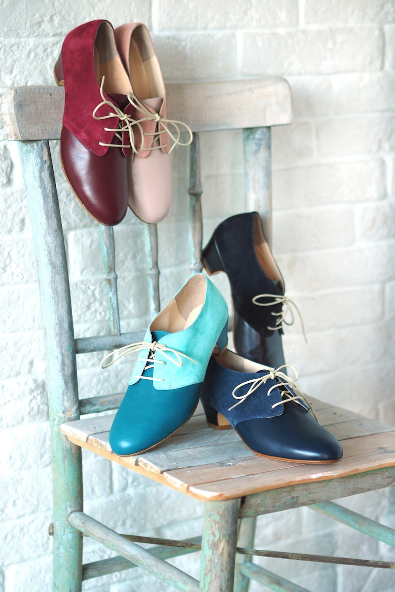 1940s Style Shoes, 40s Shoes, Heels, Boots Vintage lace up shoes Women leather shoes Suede oxford shoes Vintage swing shoes - Navy Blue $173.00 AT vintagedancer.com