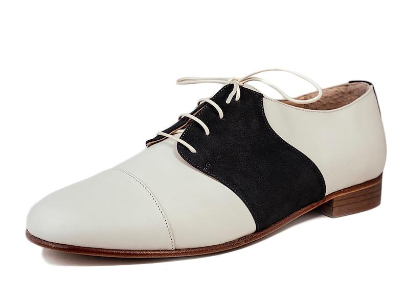 Easy 1940s Men's Fashion Guide Derby mens shoes Leather shoes Oxfords lace shoes Vintage swing shoes - Yogurt White $172.67 AT vintagedancer.com