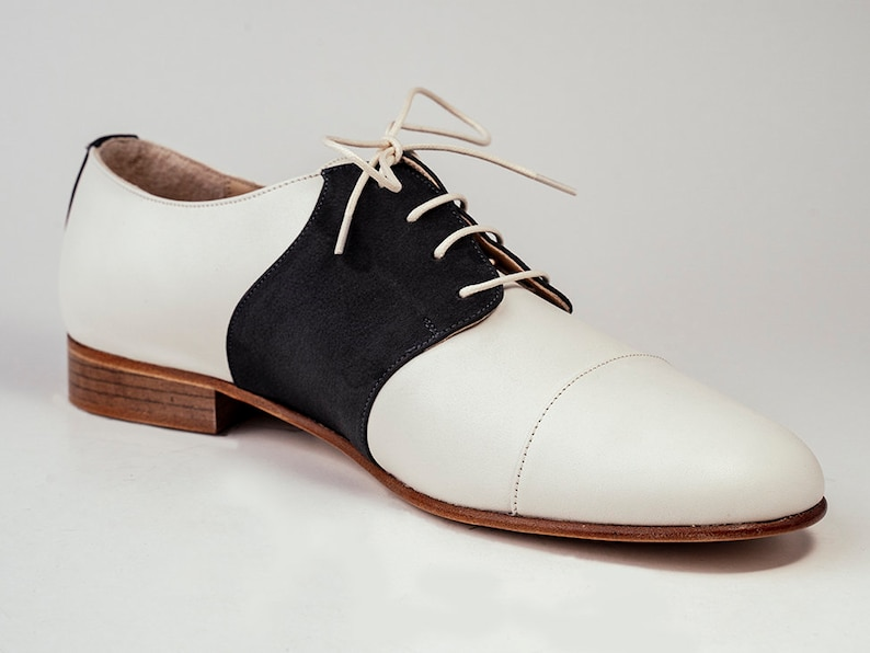 1950s Men's Shoes | Boots, Greaser, Rockabilly Derby mens shoes Leather shoes Oxfords lace shoes Vintage swing shoes - Yogurt White $177.00 AT vintagedancer.com