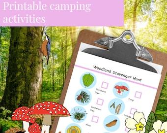 Camping game printable // Woodland (Printable PDF)