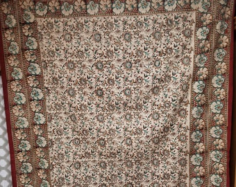 Twin Bedcover/Tablecloth/Quilt Backing (Red and Gold Floral Design)