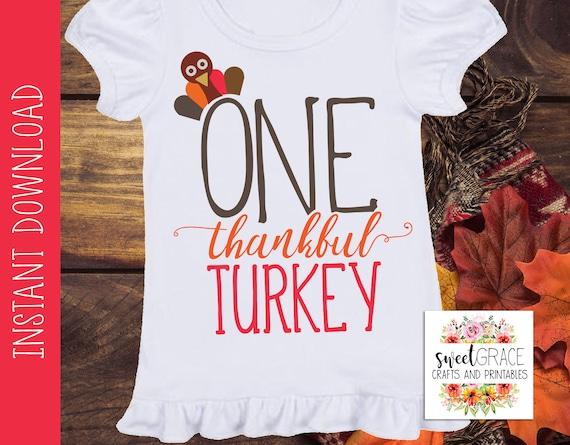 Kids Thanksgiving Svg One Thankful Turkey Svg T Shirt Etsy