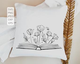 Book with flowers SVG, Spring SVG, Love Reading SVG, Book lover svg, Book Floral svg, Reading svg, Wildflowers svg, Teacher svg