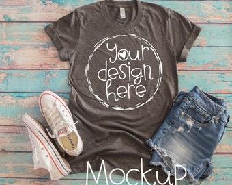Download Free T-shirt mockup, Bella Canvas T-shirt mockup, Ladies shirt mock up, Ladies gray T-shirt mock up, flat lay gray t shirt mockup design PSD Template