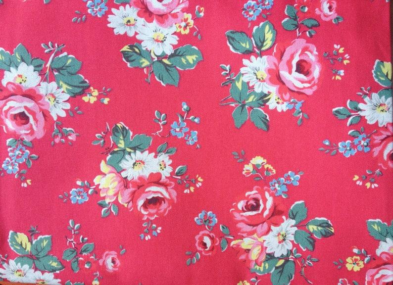 100/% Cotton Duck Fabric per metre Birds /& Roses Green Cath Kidston