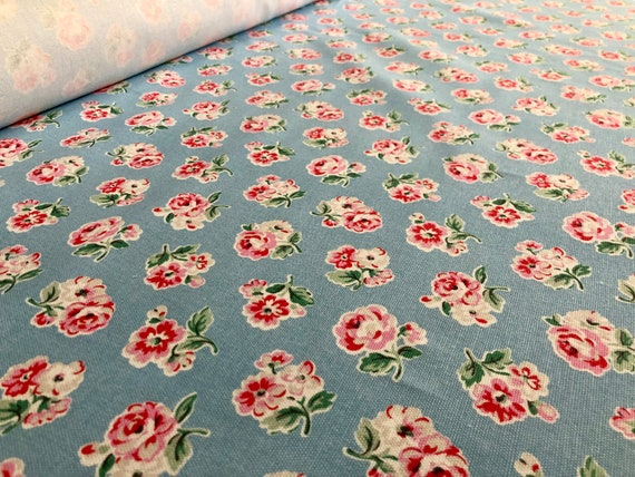 Cath Kidston Park Rose Blue 100/% Cotton Haberdashery Fabric By The Metre