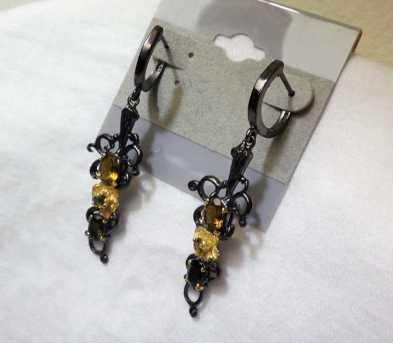 Black RhodiumGold plated BrownGolden Tourmaline Sterling Silver Earrings