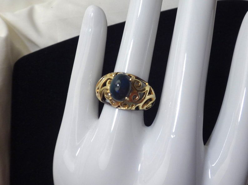 deep blue coloring Size 7.25 Black Opal Sterling Silver Ring with Black Rhodium and Gold Plating