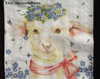 4x Paper Napkins for Party Decoupage Craft Amy little lamb