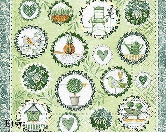5 Paper Party Napkins Herbs Garden Pack of 5 3 Ply Serviettes