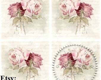 Decopatch Sheet Pink Antique Flowers 338