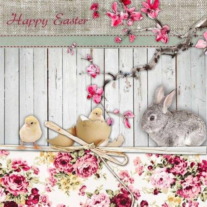 5 Servietten ~ Daisy Rabbit Hase Kaninchen  mit Gänseblümchen Serviettentechnik