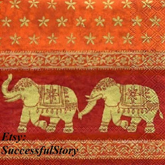 4 Lunch Paper Napkins for Decoupage Craft Vintage Napkin Love Elephant