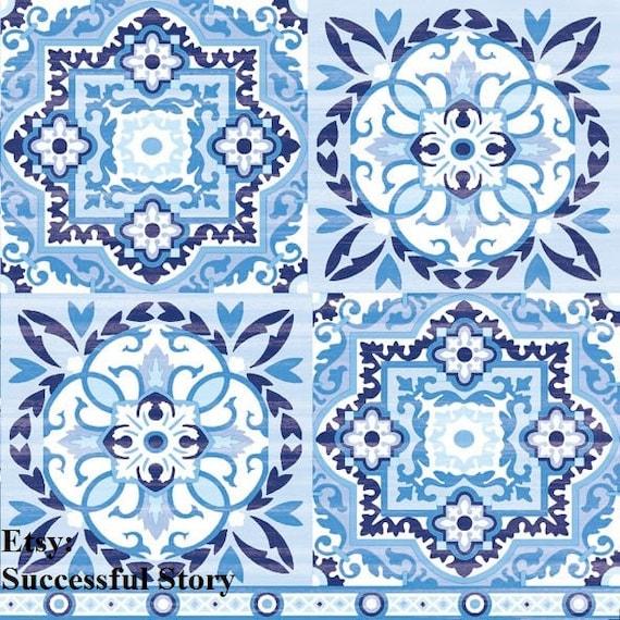 4 Lunch Paper Napkins  Decoupage Craft Vintage Napkin Morocco  Mosaic