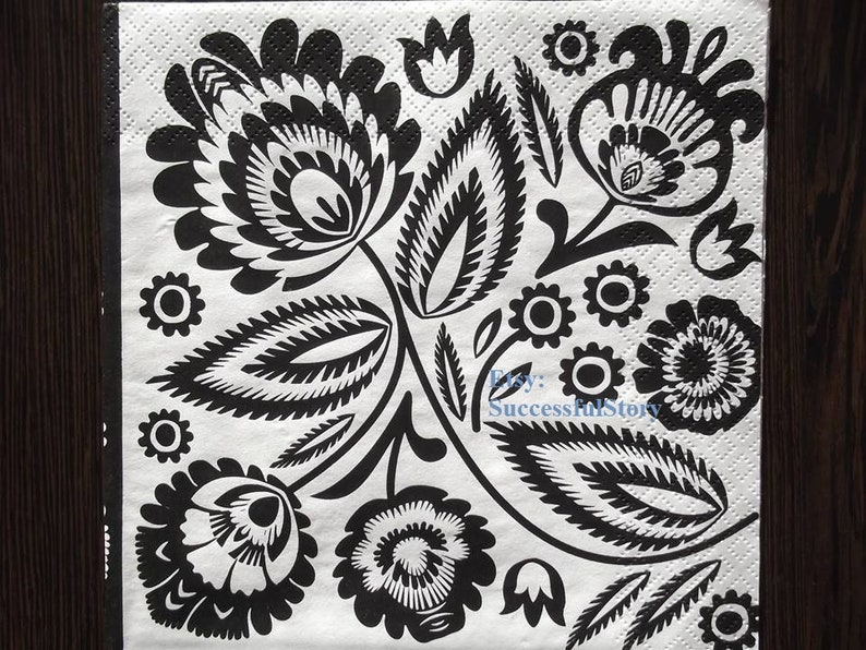 5 Black White Floral Paper Napkins For Decoupage Decorative Paper Serviette Decoupage Napkins Folklor Paper Napkins With Black White Pattern