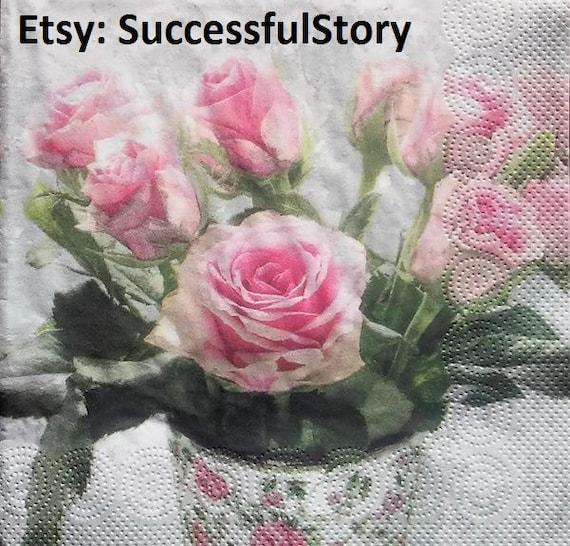 4 Paper Napkins Serviettes Vintage Roses in Vase Decoupage Tissue Napkins New