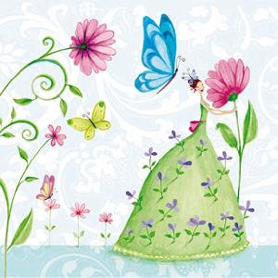4 Decoupage Napkins Fairies Paper Napkins For Decoupage Vintage Paper Serviette Pastel Paper Napkins With Angels Decorative Napkins Fairies