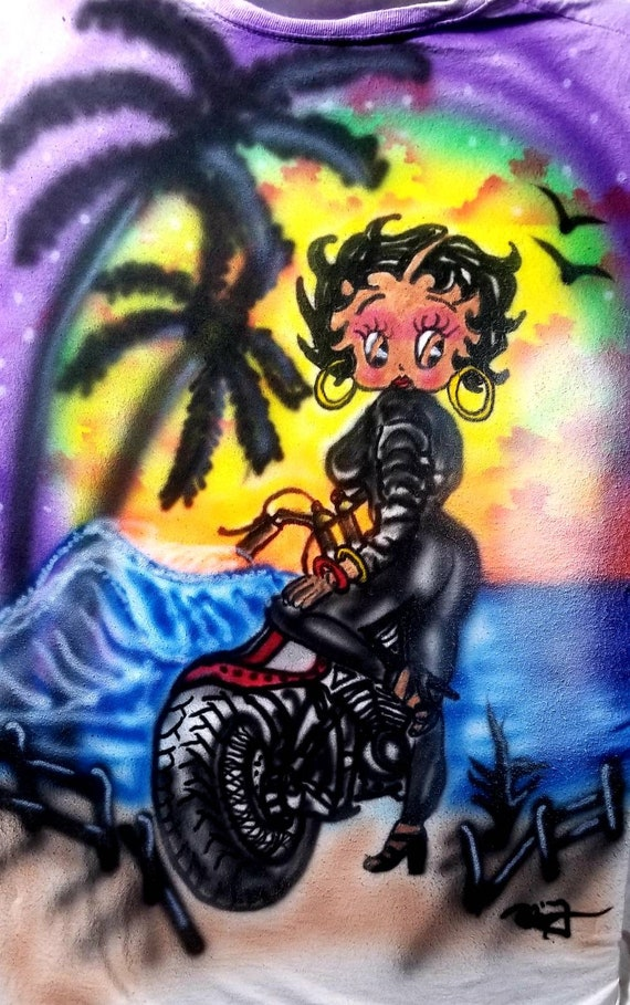 Airbrushed Betty Boop Personalized Custom T-Shirt with Any Name All Sizes