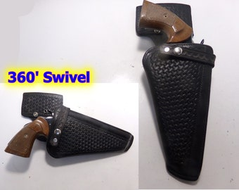 0bf9b42264b4 Black Basketweave Leather Break Front Swivel Gun Holster for COLT Python 6
