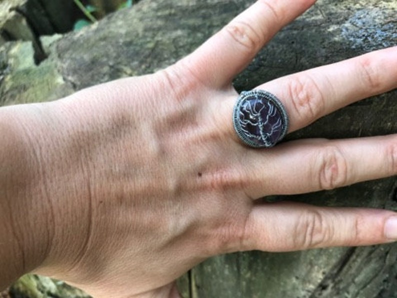 Amethyst Tree ring~tree of life jewelry for wife~Birthstone ring~wire wrapped rings~Mother in law jewelry gifts~women birthday presents