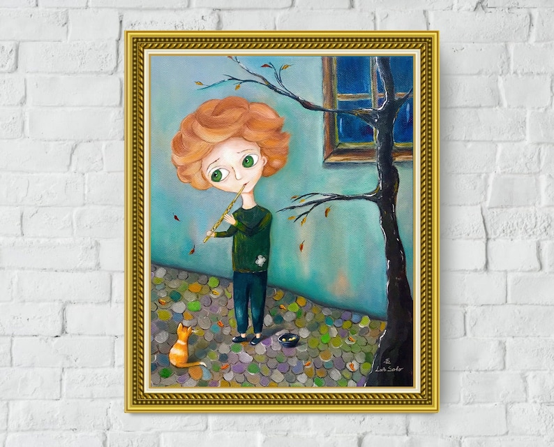 Naive Art Oil Paintings Painting Children Drawing Boy Canvas Print Illustration Cat Pet Plants Art Print Money House Autumn Leaves