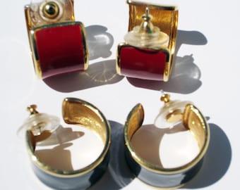 51f99352287927 Two Pair Enamel Navy and Red w/Goldtone Vintage Monet Earrings | Pierced  Post Chunky Hoop Signed Monet Jewelry Set of Two Enamel Earrings