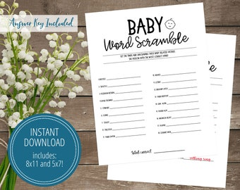 Baby Word Scramble Game, Instant Download, Baby Shower Games, Printable, Gender Neutral, Black and White Word Game, Print At Home