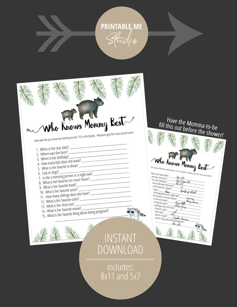 Instant Download Baby Shower Game Printable Woodland Game Baby Shower Activity Who Knows Mama Best Game Woodland Animals Baby Shower Game