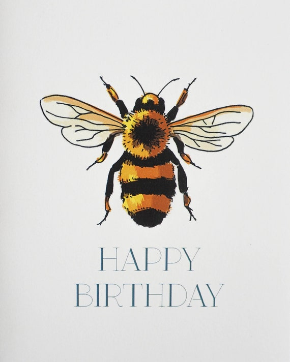 Bee Happy Birthday Card | Etsy