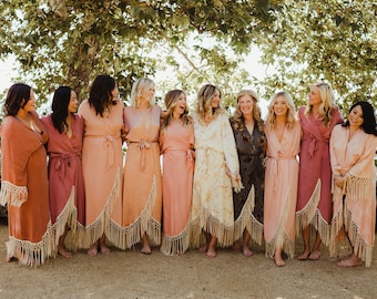 fc2196fdcc Custom Bridal Party Robes handmade from Sustainable and Deadstock Fabrics     Long Boho Robe Fringe•