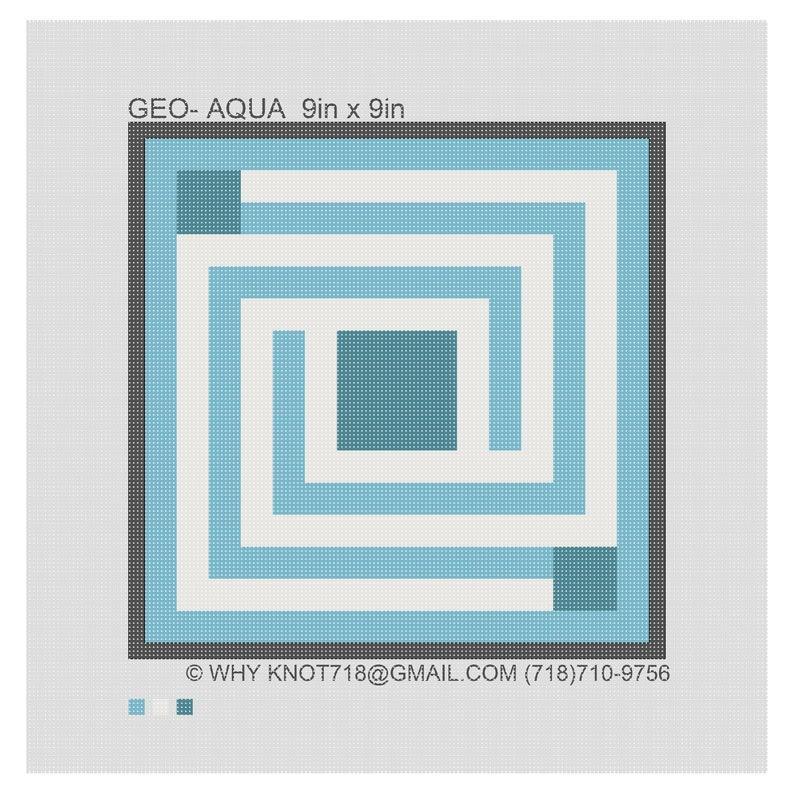 Tefillin GEO-2040 Aqua Needlepoint Handpainted Geometric Canvas Tallit Bag Set