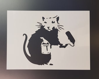 Banksy rat with roller wall art stencil,Strong,Reusable,Recyclable