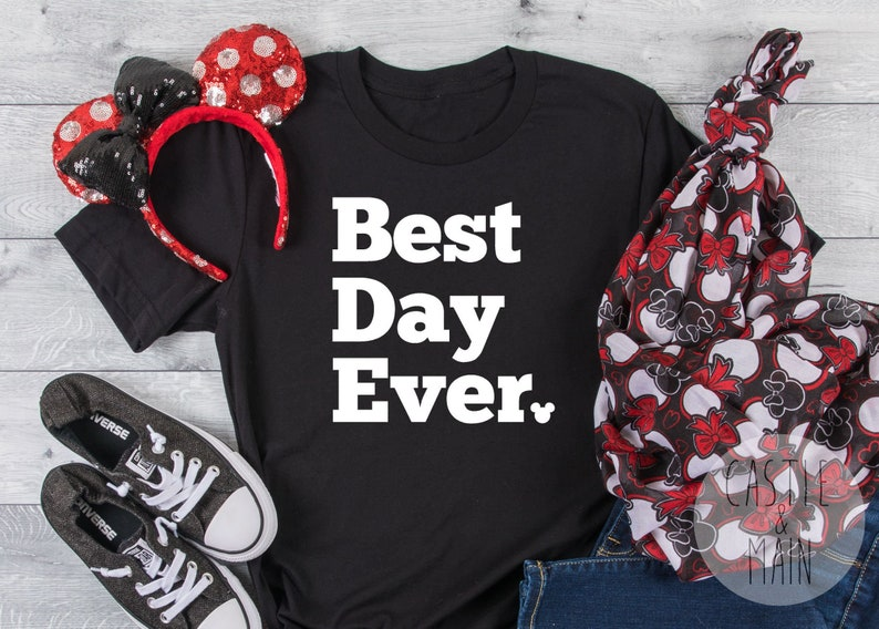 Best Day Ever Mickey Head Disney Inspired Heat Transfer Vinyl Decal - Matte  or Glitter - Precut - Ready to Iron On