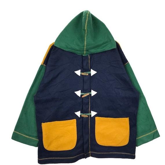 Vintage Multi Color Hoodie Duffle Coat