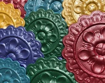 Embossed Medallions | Metallic Medallions |Embossed Die Cuts | Embossed Paper | Scrapbook Supplies | Junk Journal Supplies | Embellishments