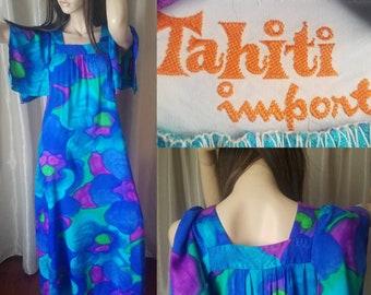 e9d8b7efc3a5 70s vintage hawaii maxi dress medium mu mu floral tiki party flowing skirt  M Hawaiian moo moo purple blue pink watercolor print pool
