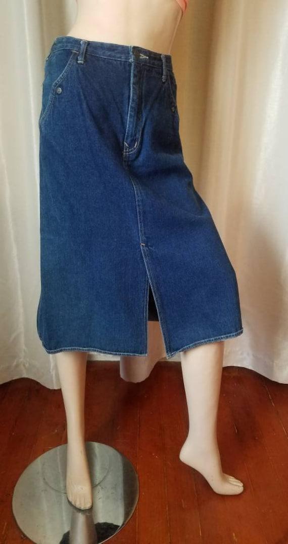 70s 80s vintage nest ce pas denim blue jean skirt… - image 4