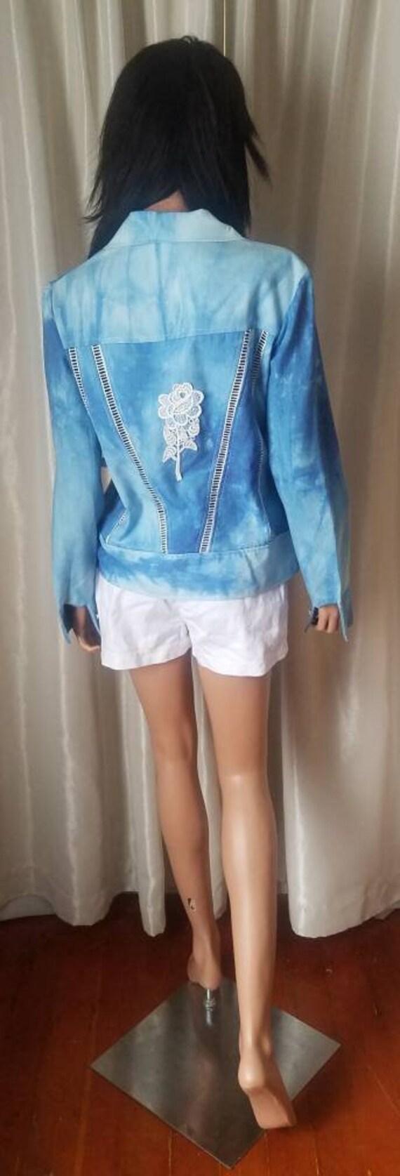 70s vintage nos s small medium m jeans jacket Ron… - image 4