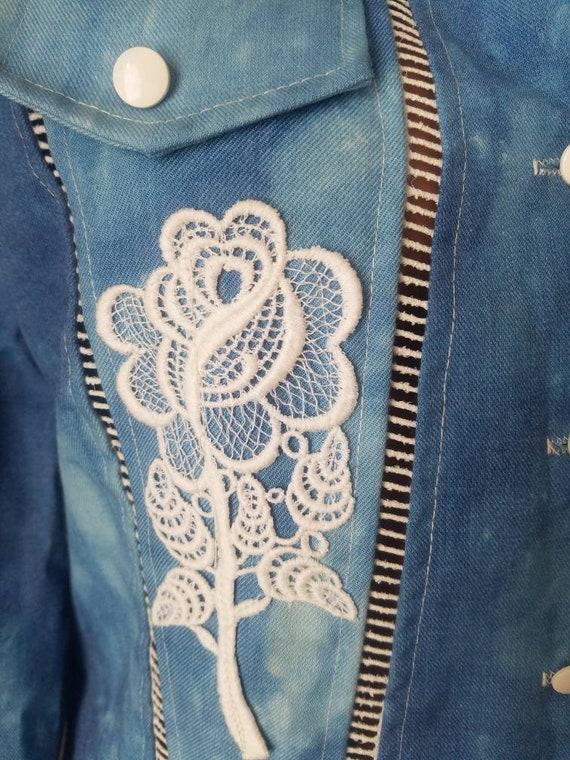 70s vintage nos s small medium m jeans jacket Ron… - image 8