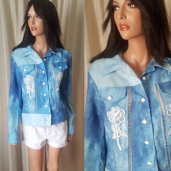 70s vintage nos s small medium m jeans jacket Ron… - image 1