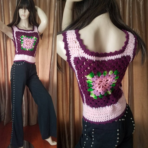 60s vintage small crochet knit top shirt vest bust
