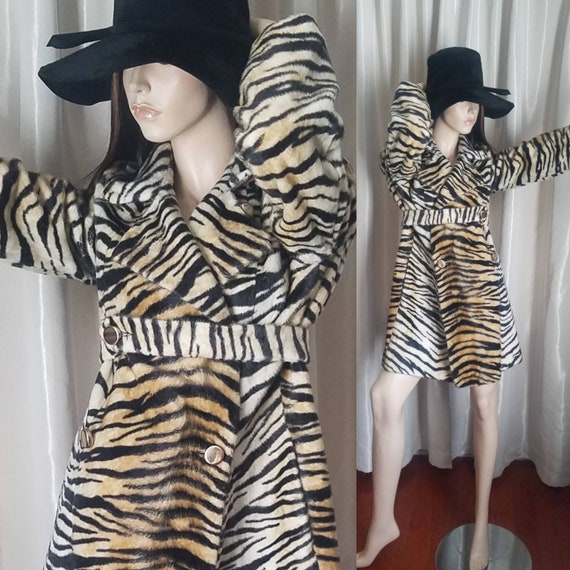 60s 70s vintage tiger striped leopard mini coat fa