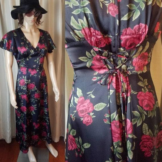 70s 80s vintage rose print maxi midi dress shirt m