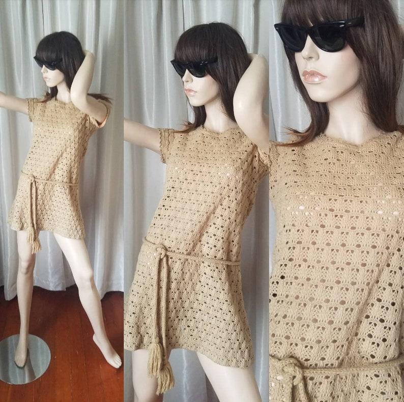 60s 70s vintage mini dress XS original open tan brown minidress crochet knit mod hippie micro exc with fringe belt